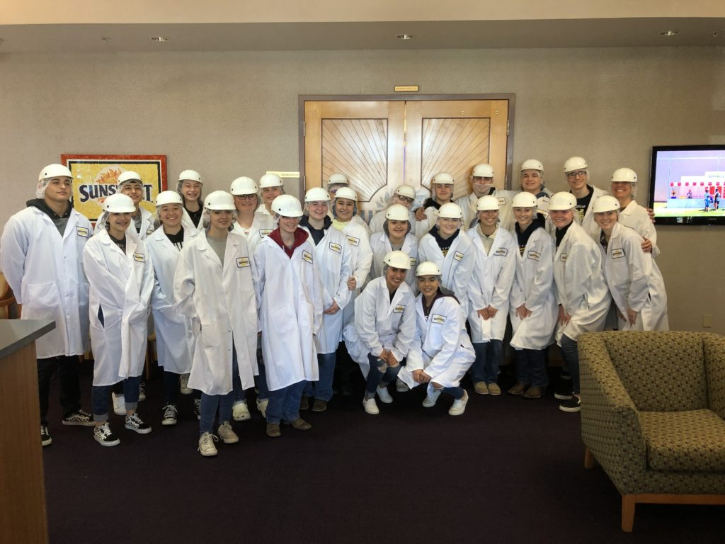 Group of students in lab coats and hard hats