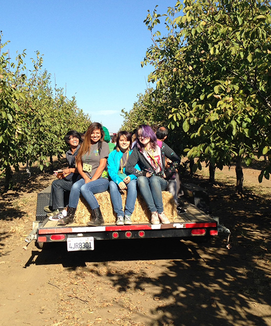 students on a hayride
